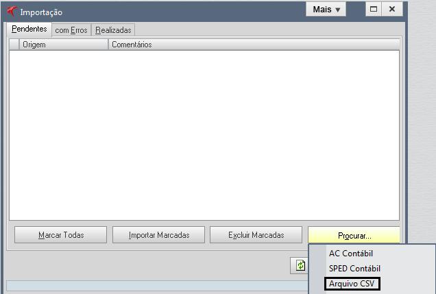 """Faça importação de planilhas com extensão """".csv"""" para o sistema Fortes Contábil. 6"""