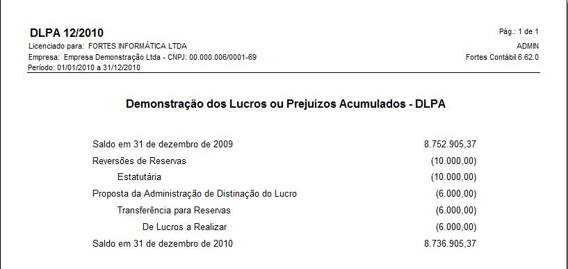 Dica de uso: Demonstração de Lucros ou Prejuízos Acumulados (DLPA) 13