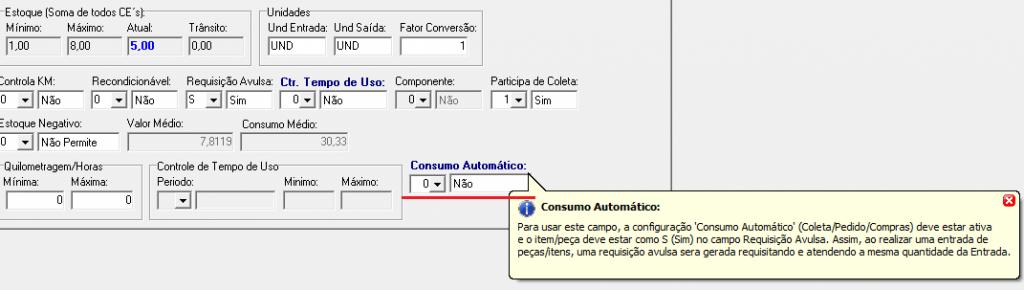 Consumo automático de peças após a Entrada - (Fortes Frota versão 2.310.89) 2
